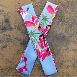 2pc Blue Floral Silk Scarf Handbag Wrap Twillys